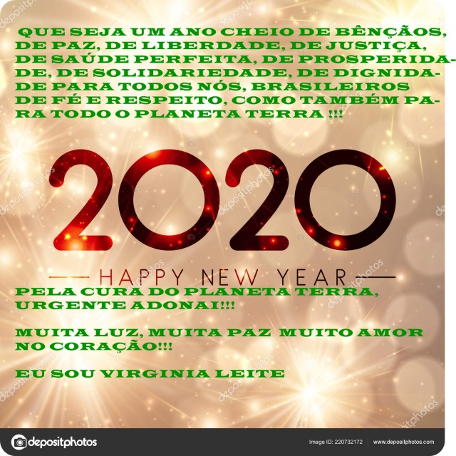 Shiny Happy New Year 2020 background with gold fireworks.